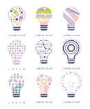 Idea Bulb Different Abstract Design Pastel Icons