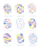 Thinking Inside Human Head Different Abstract Design Pastel Icons