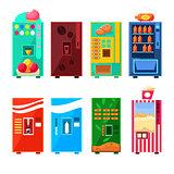 Food And Drink Vending Machines Design Set