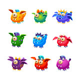 Little Alien Dragon Like Monsters Set