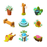 Video Game Garden Landscape Decoration Collection Of Elements