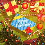 Christmas Presents Colorful Illustration With Classic Holiday Symbols Collection