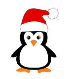 Cute cartoon penguin on white background