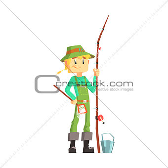 Fisherman With Fishing Rod Standing And Smiling