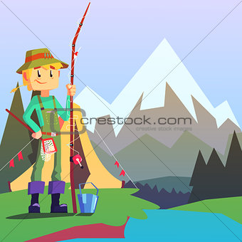 Fisherman Camping With The Mountain Landscape On The Background