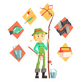 Fisherman With Fishing Equipment Icons Around Infographic Drawing