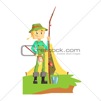 Fisherman Outdoors With Tent On The Background