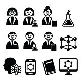 Scientist woman and man, science icons set