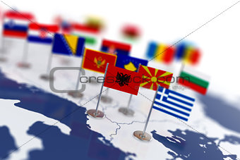 Albania flag in the focus. Europe map with countries flags