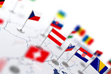 Austria flag in the focus. Europe map with countries flags