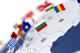 Bulgaria flag in the focus. Europe map with countries flags