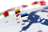 Estonia flag in the focus. Europe map with countries flags