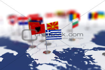 Greece flag in the focus. Europe map with countries flags