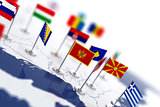 Montenegro flag in the focus. Europe map with countries flags