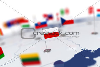 flag in the focus. Europe map with countries flags