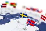 Sweden flag in the focus. Europe map with countries flags