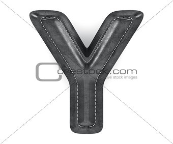 Black leather skin texture capital letter Y