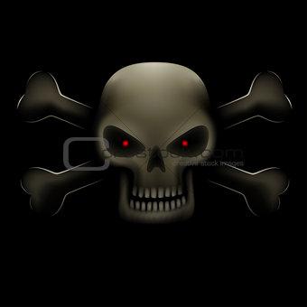 skull with bones in dark