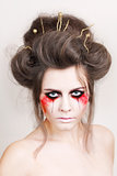 halloween make up beautiful model with perfect hairstyle. retouch