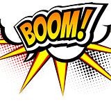 Boom, Pop art inspired illustration of a explosion. Speach bubble