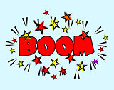 Comic book Cartoon - boom explosion. Splash with Stars
