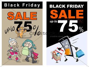 Black Friday sale up 75 percent discount. Funny vector cartoon
