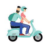 A man and a woman are riding a scooter