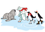 Polar bear, penguin and walrus skating