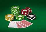 Gambling chips and playing cards 3d