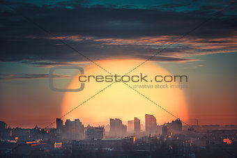 Aerial view of city sunset