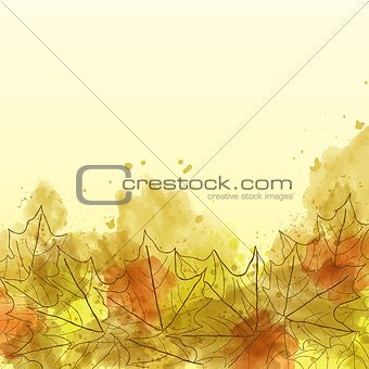 Autumn watercolor background with leaves