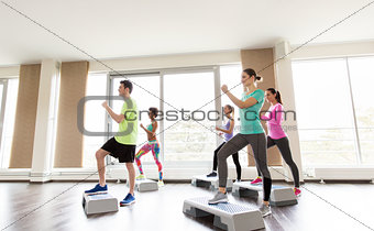 group of people exercising on steppers in gym