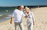 happy senior couple holding hands on summer beach