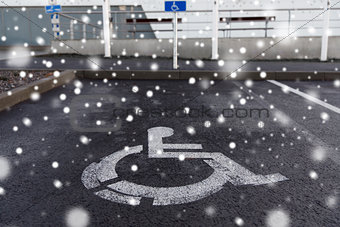 car parking road sign for disabled outdoors
