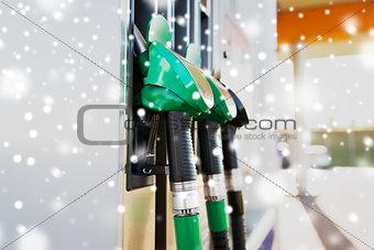close up of gasoline hose at gas station