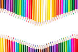 Color pencils rainbow vawe arrangement