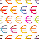 Seamless texture of bright shiny colorful euro sign