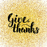 Give Thanks Gold Greeting Card