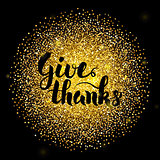 Give Thanks Lettering over Gold