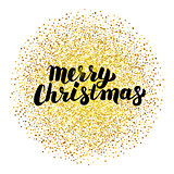 Merry Christmas Lettering over Gold