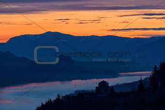 Crown Point and Beacon Rock at Dawn
