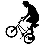 Set silhouette of a cyclist male performing acrobatic pirouettes. vector illustration