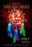 Dream Away Party Flyer. DreamCatcher. Vector Design EPS 10
