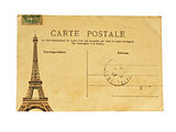 Vintage french post card with famous Eiffel tower in Paris