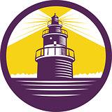Lighthouse Circle Woodcut