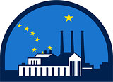 Power Plant Alaska Flag Half Circle Retro
