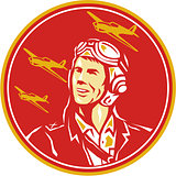 World War 2 Pilot Airman Fighter Plane Circle Retro