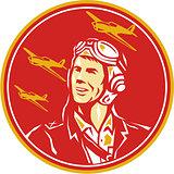 World War 2 Pilot Airman Fighter Plane Circle Retro