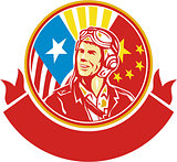 World War 2 Pilot USA China Flag Circle Retro
