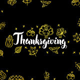 Thanksgiving Gold Black Postcard